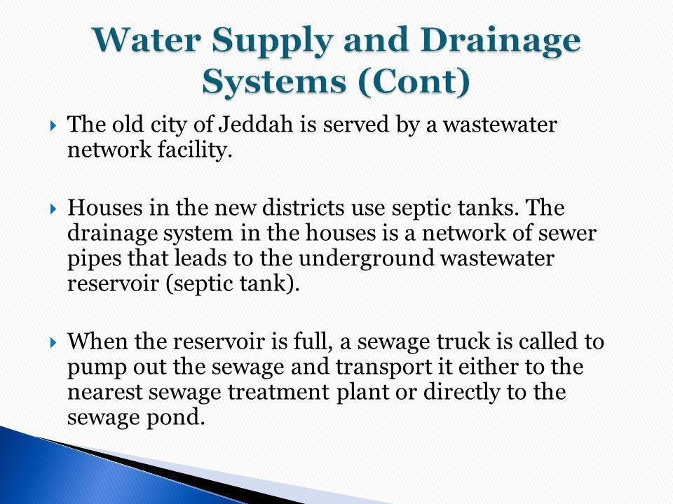 Water Supply and Drainage Systems (Cont)