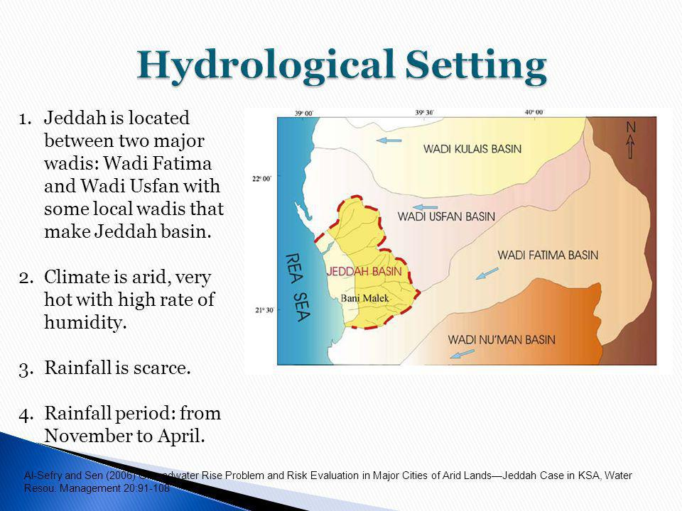 Hydrological Setting Jeddah is located between two major wadis: Wadi Fatima and Wadi Usfan with some local wadis that make Jeddah basin.