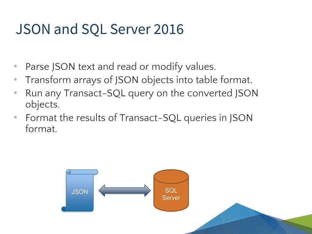 Json array sql