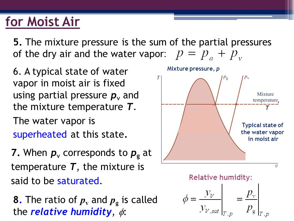 for Moist Air 5. The mixture pressure is the sum of the partial pressures of the dry air and the water vapor: