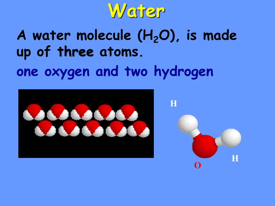 Water A water molecule (H2O), is made up of three atoms.