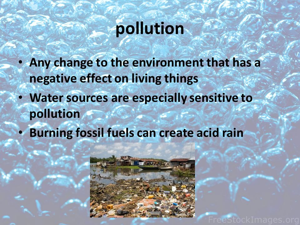 pollution Any change to the environment that has a negative effect on living things. Water sources are especially sensitive to pollution.