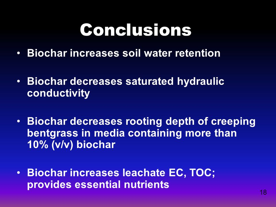 Conclusions Biochar increases soil water retention