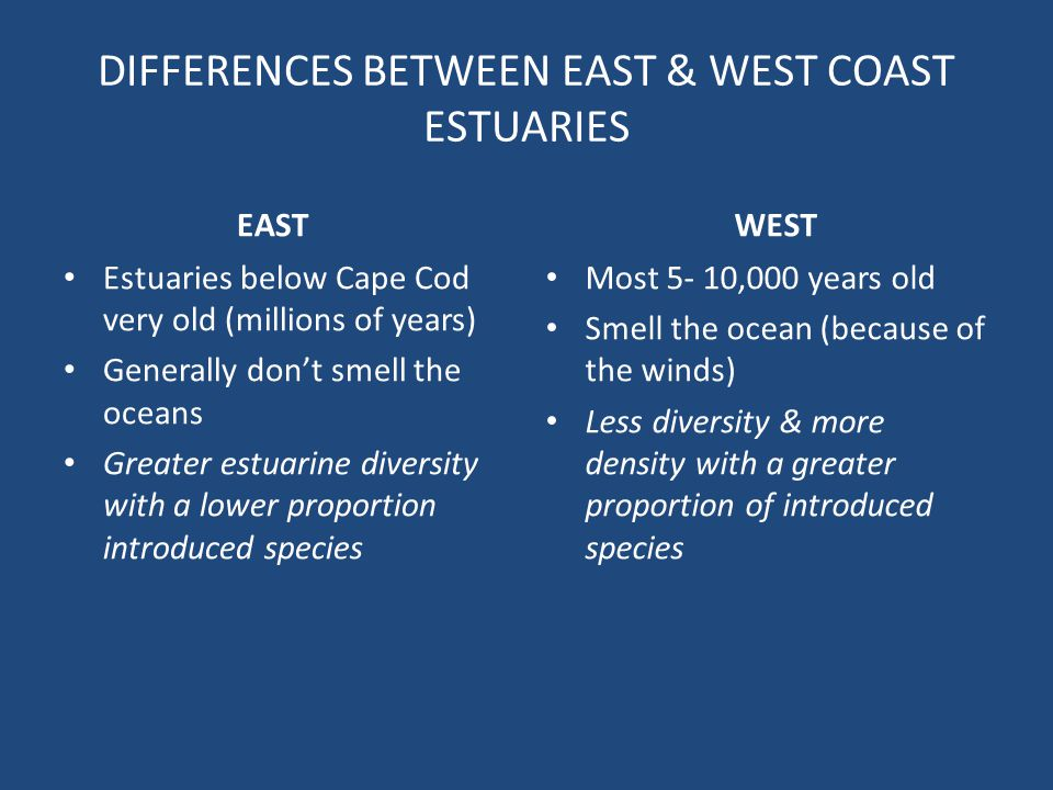 DIFFERENCES BETWEEN EAST & WEST COAST ESTUARIES