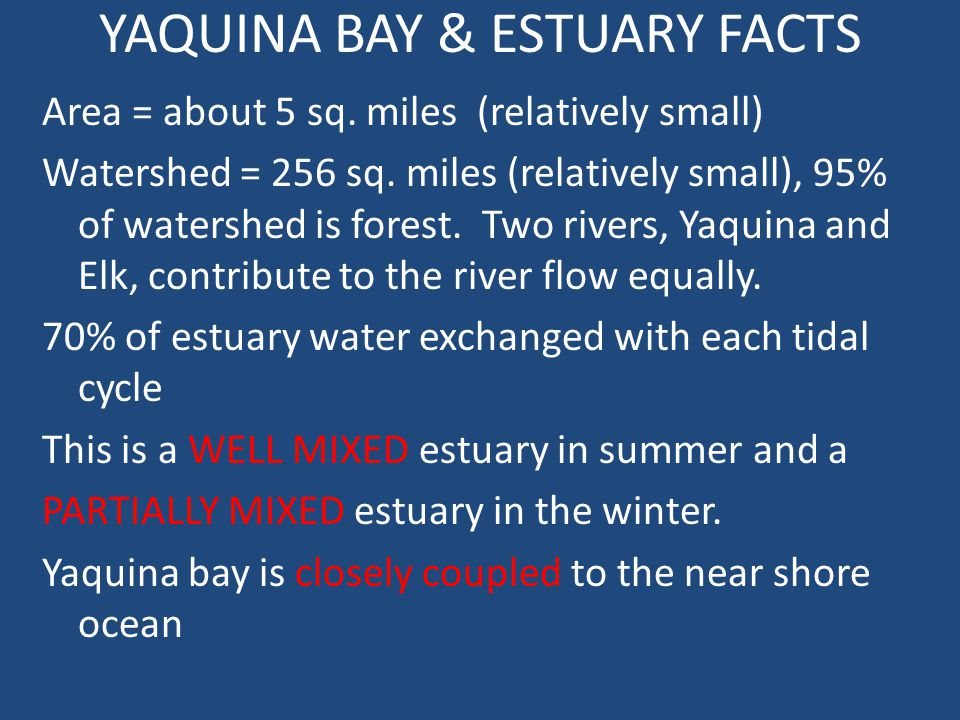YAQUINA BAY & ESTUARY FACTS