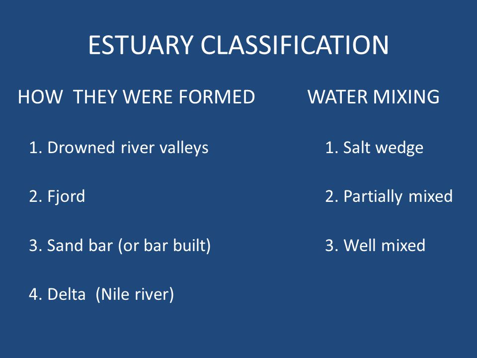 ESTUARY CLASSIFICATION