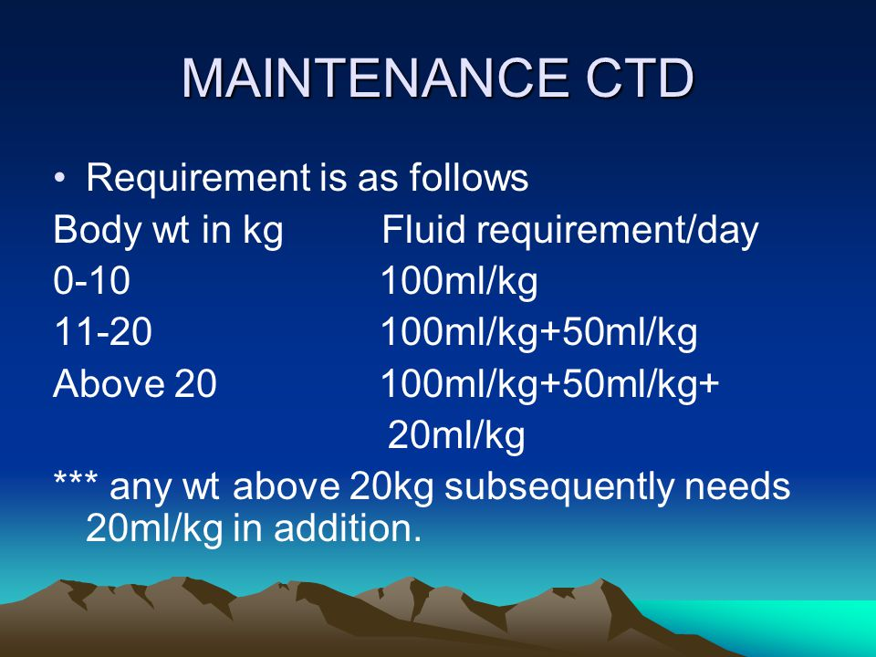 MAINTENANCE CTD Requirement is as follows