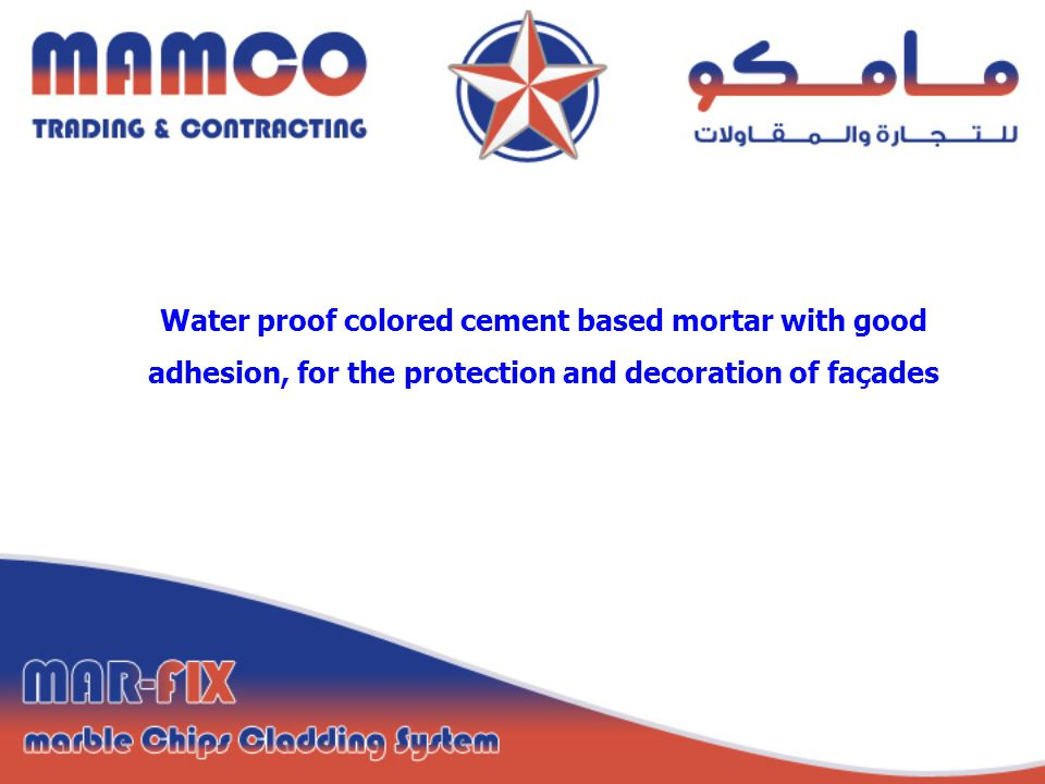 Water proof colored cement based mortar with good adhesion, for the protection and decoration of façades