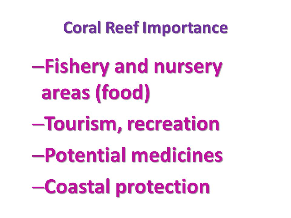 Fishery and nursery areas (food) Tourism, recreation