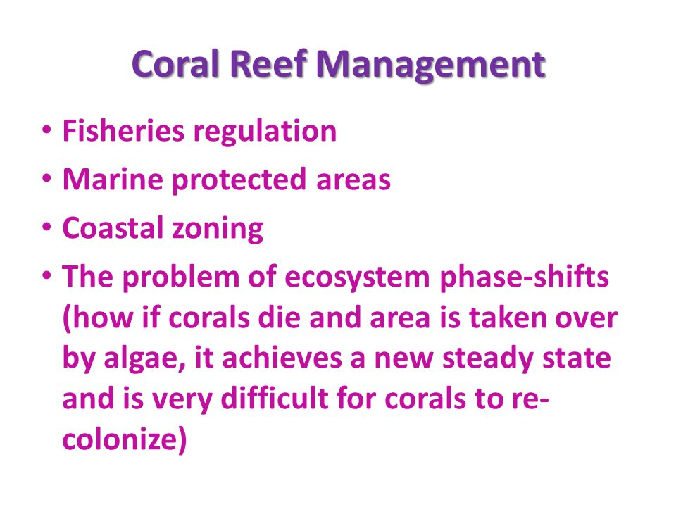 Coral Reef Management Fisheries regulation Marine protected areas