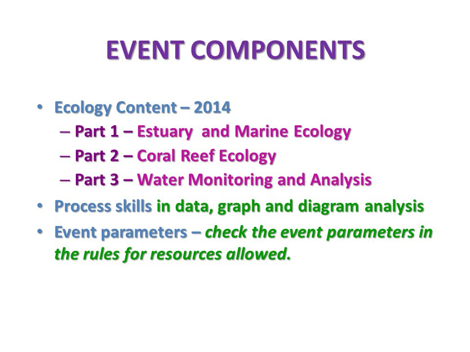 EVENT COMPONENTS Ecology Content – 2014