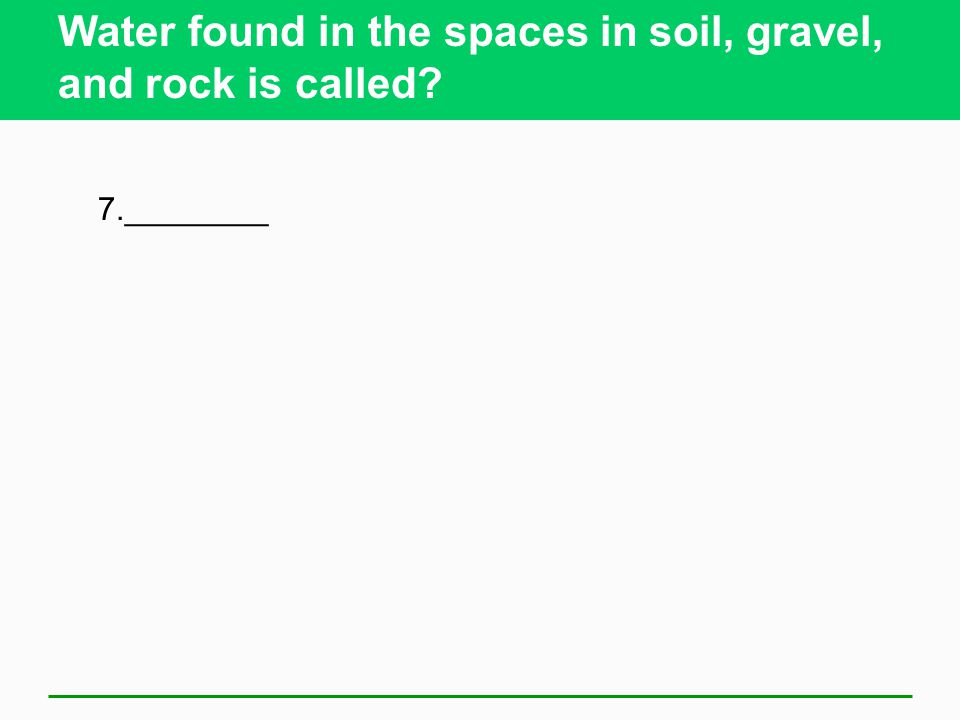 Water found in the spaces in soil, gravel, and rock is called