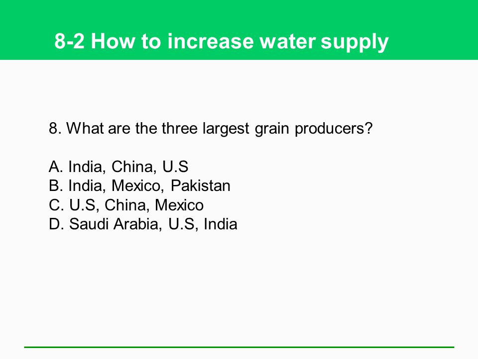 8-2 How to increase water supply