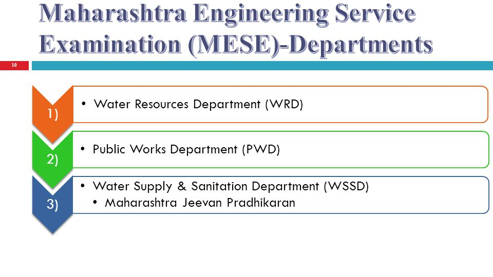 Maharashtra Engineering Service Examination (MESE)-Departments