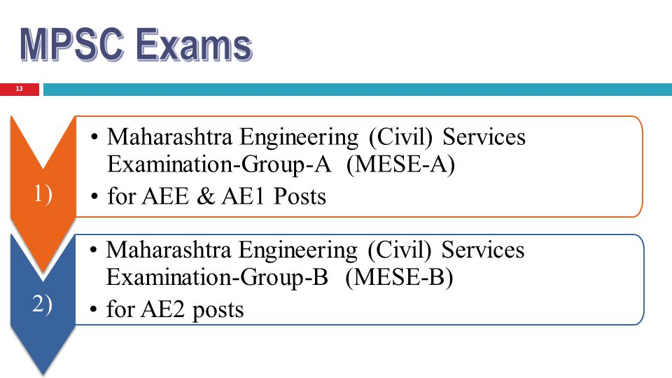 MPSC Exams 1) Maharashtra Engineering (Civil) Services Examination-Group-A (MESE-A) for AEE & AE1 Posts.