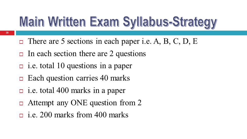 Main Written Exam Syllabus-Strategy