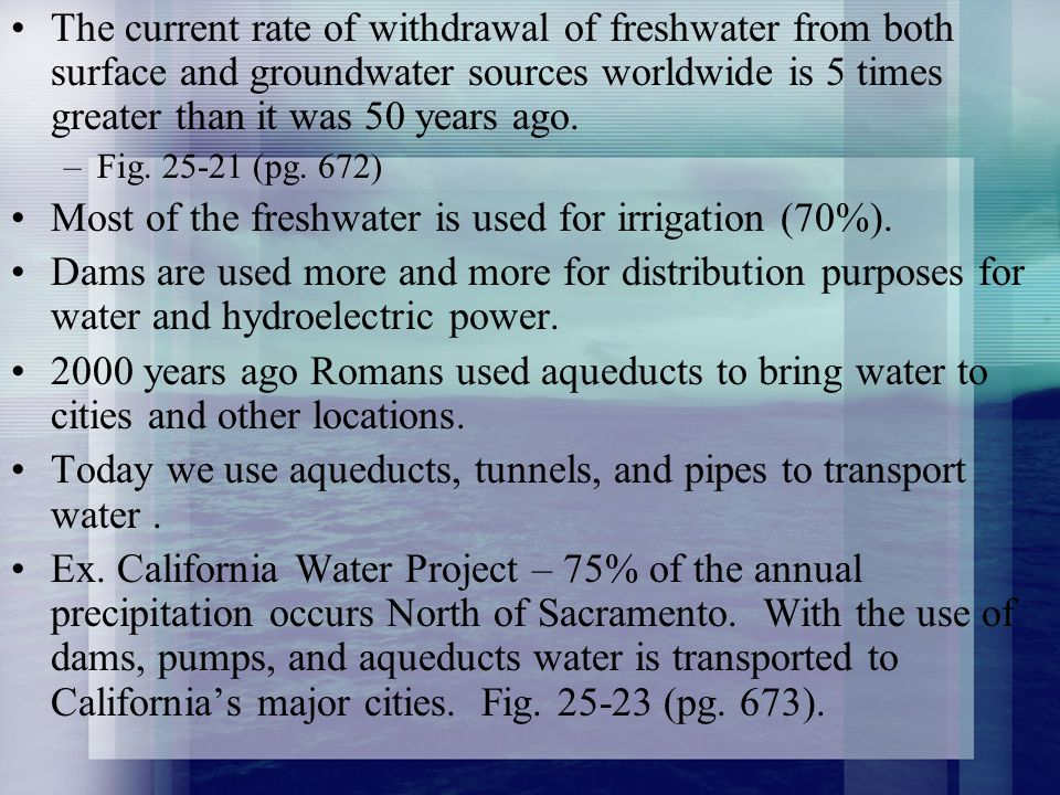 Most of the freshwater is used for irrigation (70%).