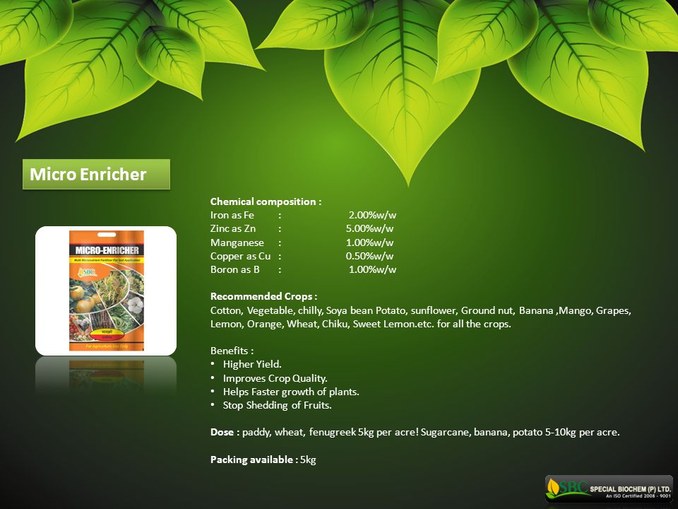 Micro Enricher Chemical composition : Iron as Fe : 2.00%w/w