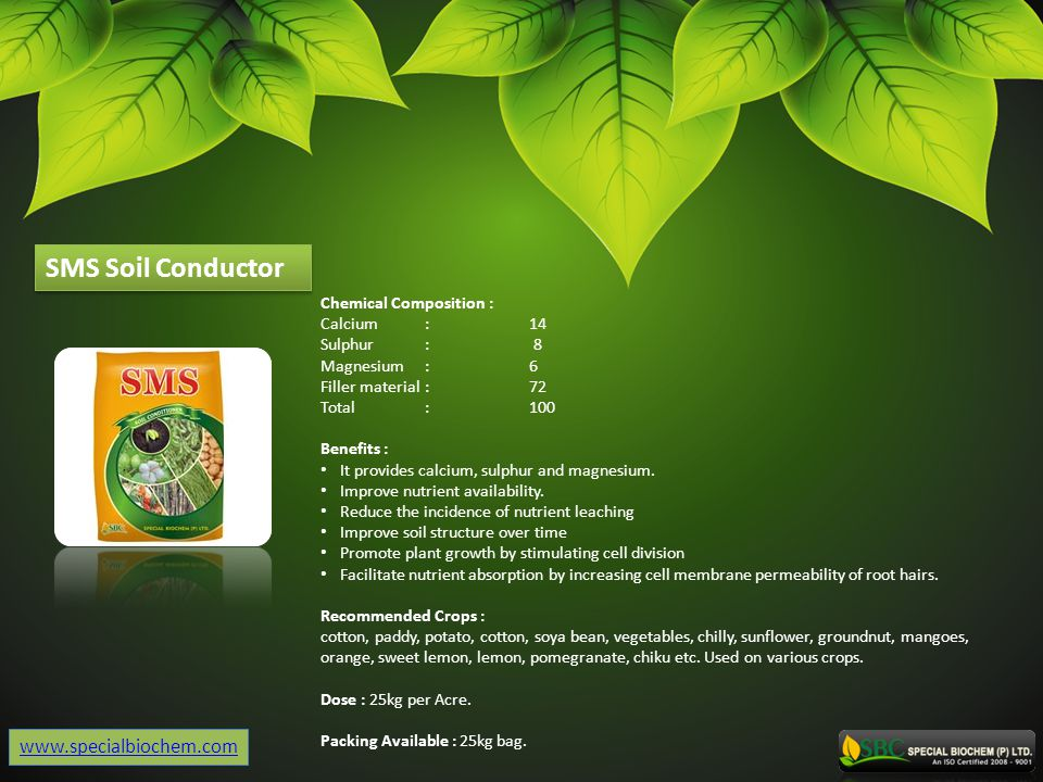 SMS Soil Conductor www.specialbiochem.com Chemical Composition :