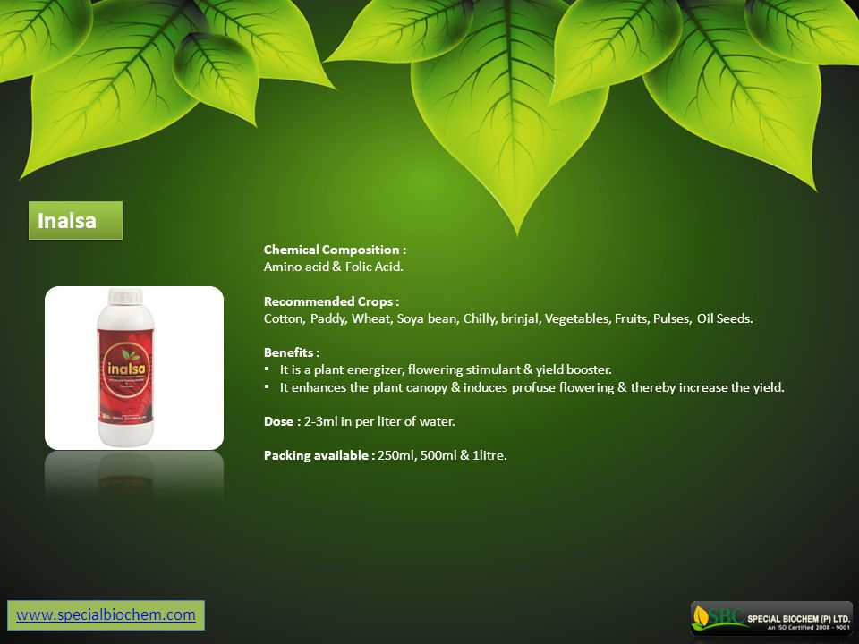 Inalsa www.specialbiochem.com Chemical Composition :