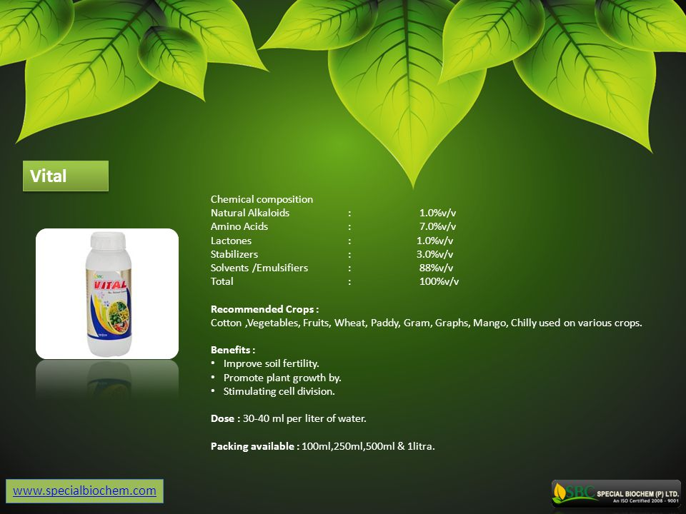 Vital www.specialbiochem.com Chemical composition