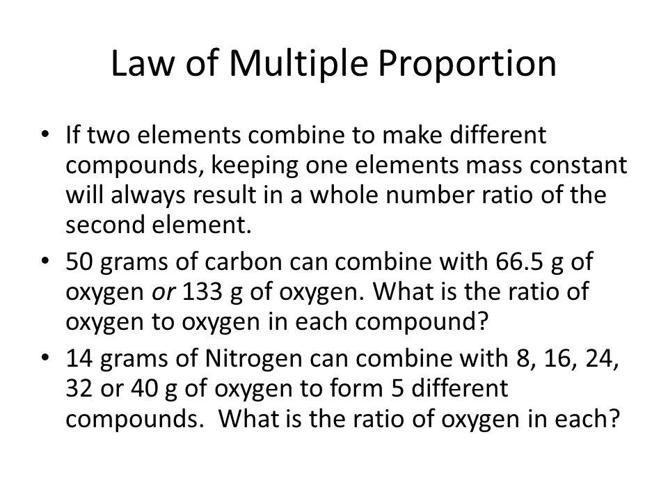 Law of Multiple Proportion