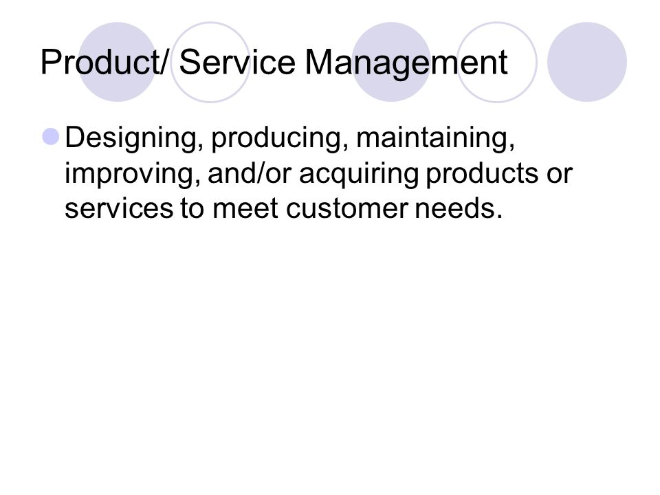 Product/ Service Management