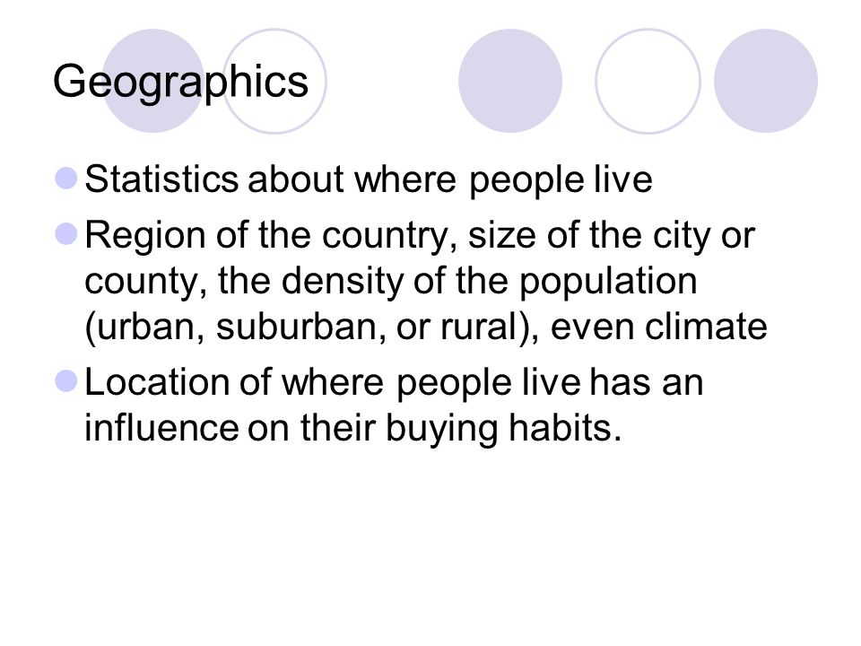 Geographics Statistics about where people live