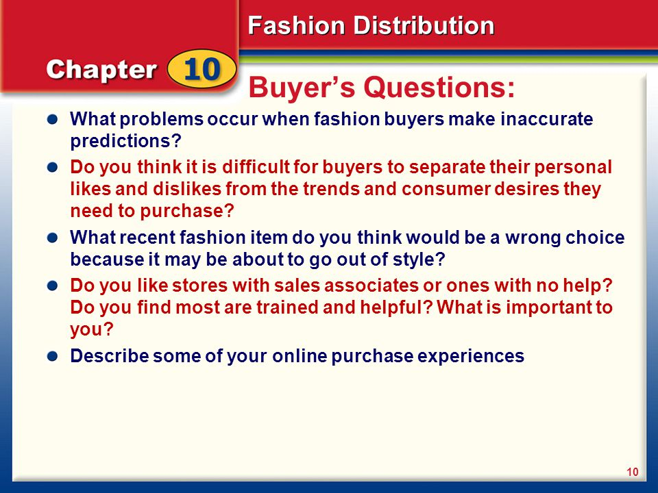 Buyer's Questions: What problems occur when fashion buyers make inaccurate predictions