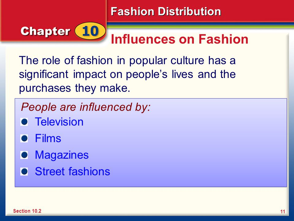 Influences on Fashion The role of fashion in popular culture has a significant impact on people's lives and the purchases they make.