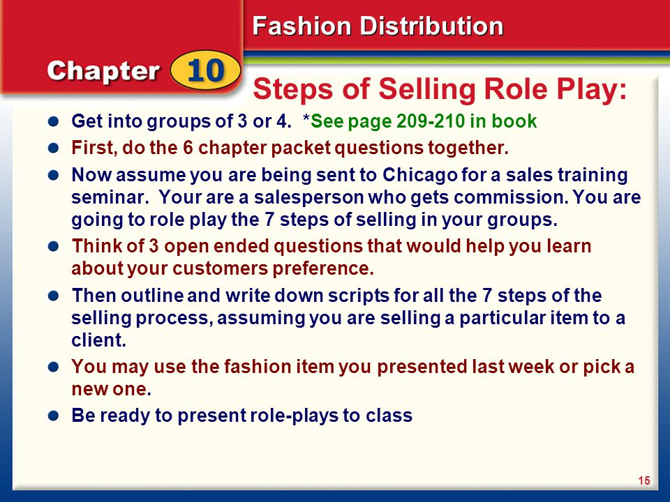 Steps of Selling Role Play: