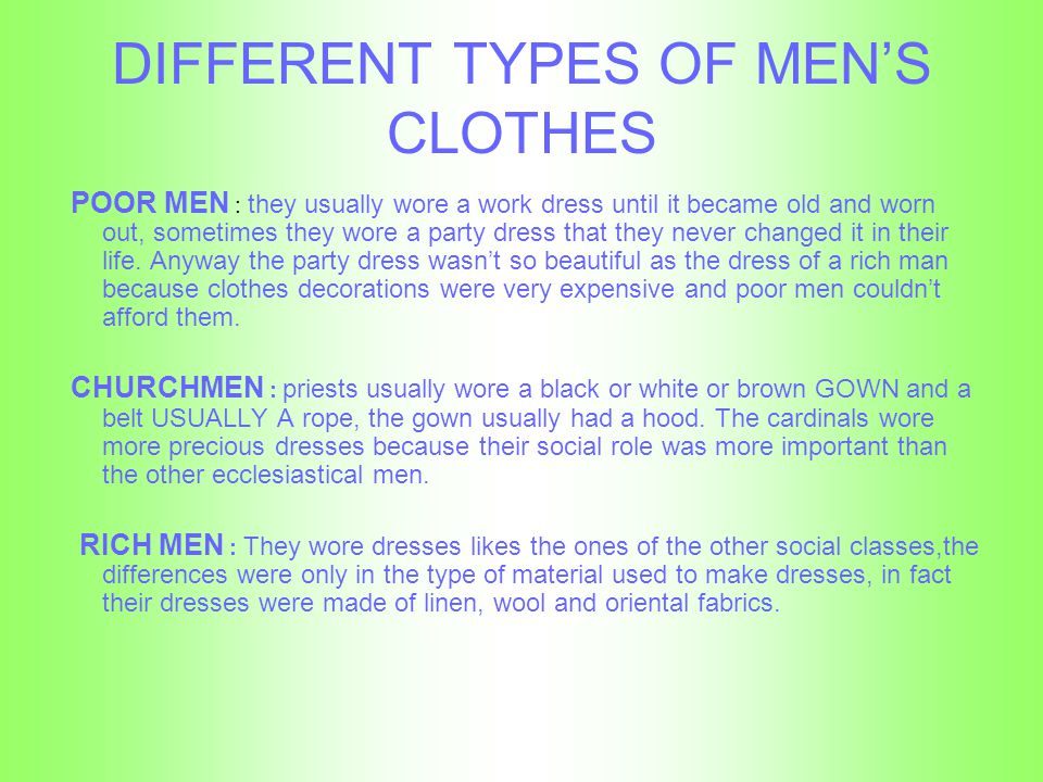 DIFFERENT TYPES OF MEN'S CLOTHES