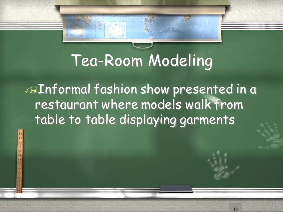 Tea-Room Modeling Informal fashion show presented in a restaurant where models walk from table to table displaying garments.