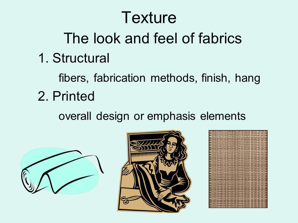 Texture The look and feel of fabrics 1. Structural