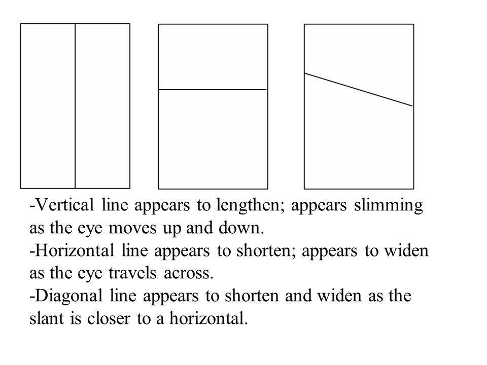 -Vertical line appears to lengthen; appears slimming as the eye moves up and down.