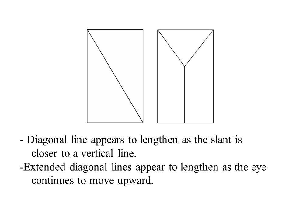 - Diagonal line appears to lengthen as the slant is closer to a vertical line.