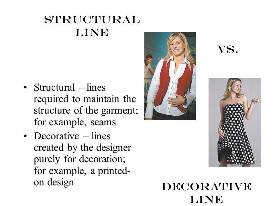 Structural Line Vs. Structural – lines required to maintain the structure of the garment; for example, seams.