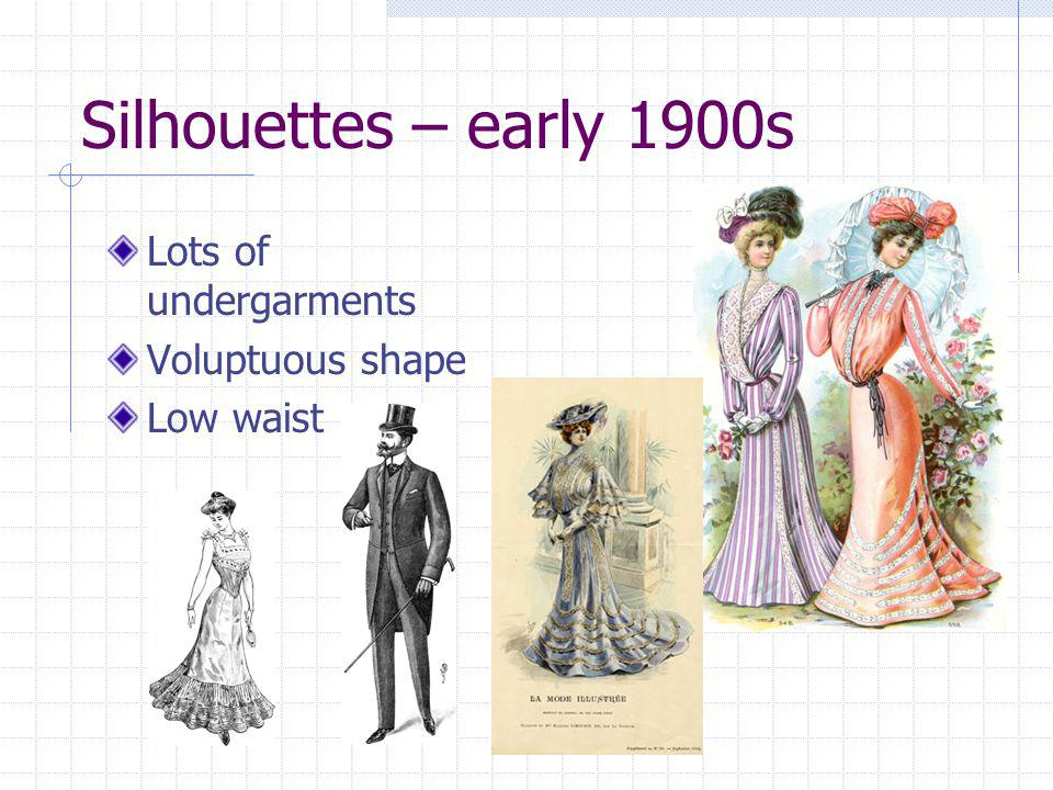 Silhouettes – early 1900s Lots of undergarments Voluptuous shape
