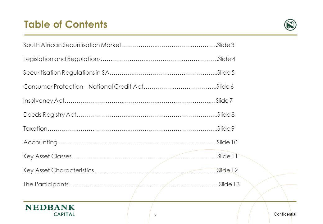Table of Contents South African Securitisation Market…………………………………………..Slide 3. Legislation and Regulations…………………………………………………….Slide 4.