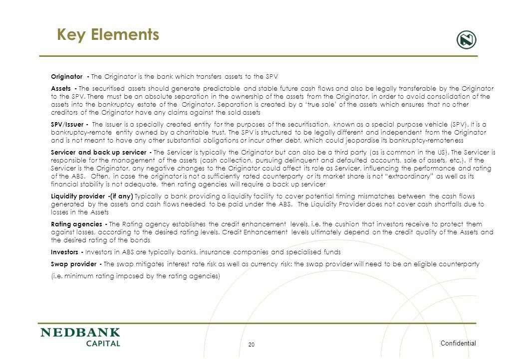 Key Elements Originator - The Originator is the bank which transfers assets to the SPV.