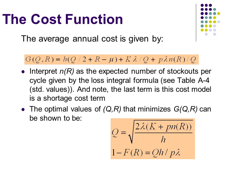 The Cost Function The average annual cost is given by: