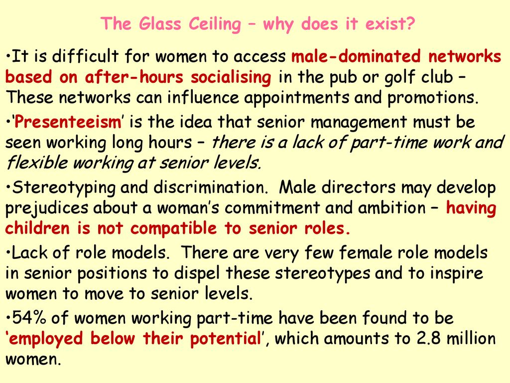 why does the glass ceiling exist