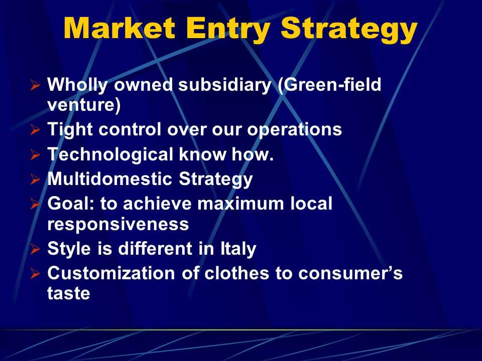 Market Entry Strategy Wholly owned subsidiary (Green-field venture)