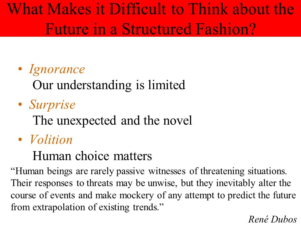 What Makes it Difficult to Think about the Future in a Structured Fashion