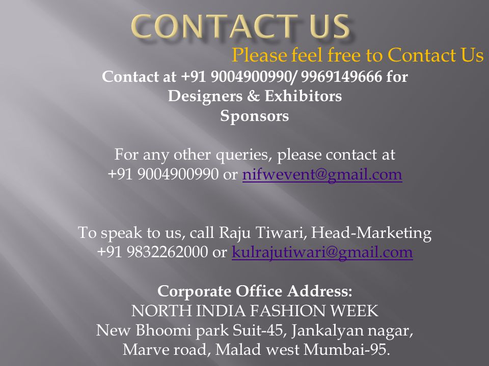 Designers & Exhibitors Corporate Office Address:
