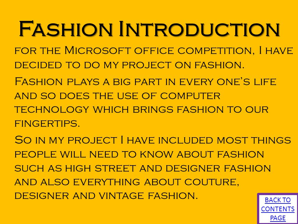 Fashion Introduction