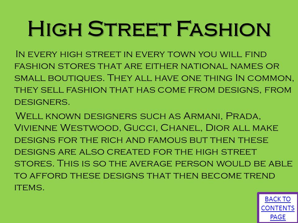 High Street Fashion