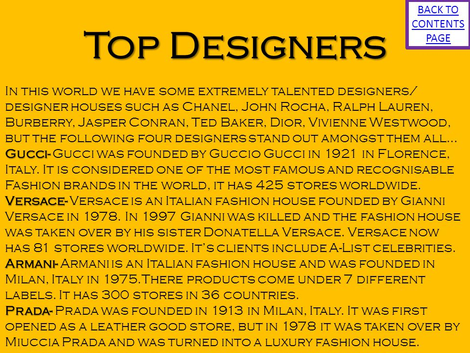 BACK TO CONTENTS PAGE Top Designers.