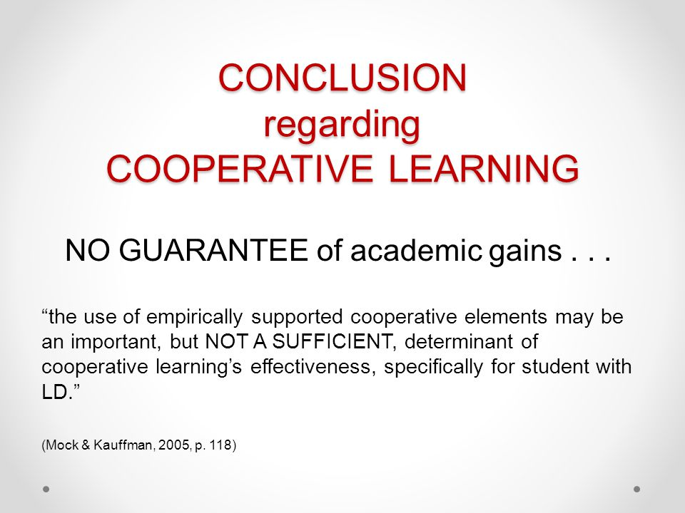 CONCLUSION regarding COOPERATIVE LEARNING