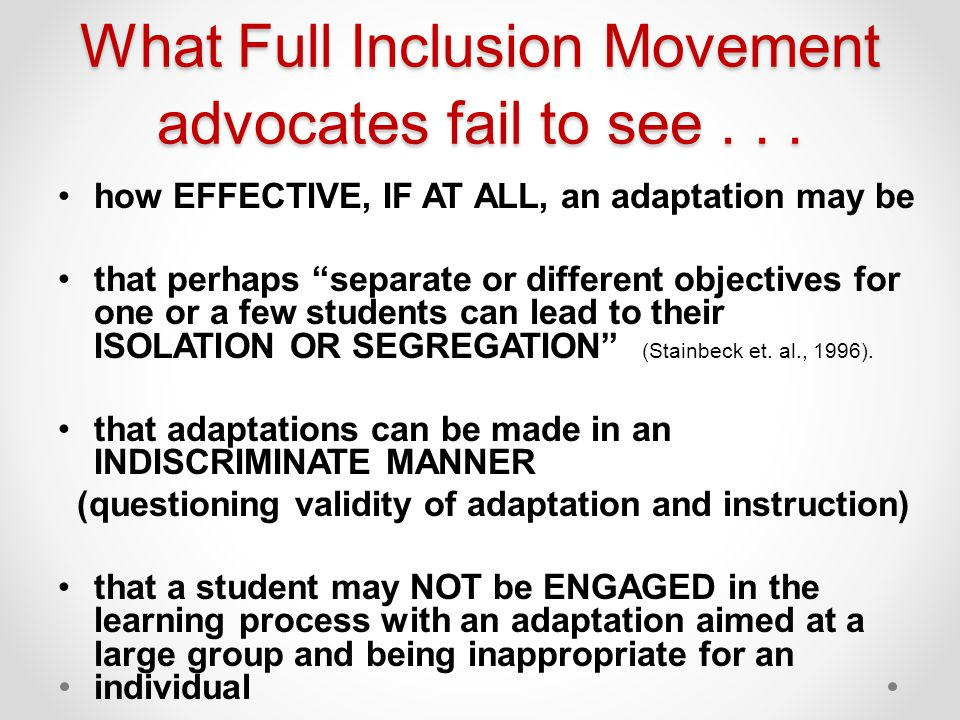 What Full Inclusion Movement advocates fail to see . . .